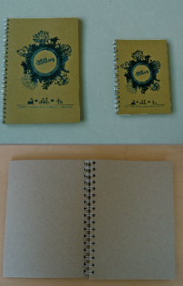 350 Notebook. Small 34,000 VND, Large 49,000 VND. Made from recycled paper, each notebook has 50 pages.